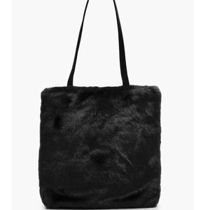 Black Faux Fur Purse Bag Medium Size